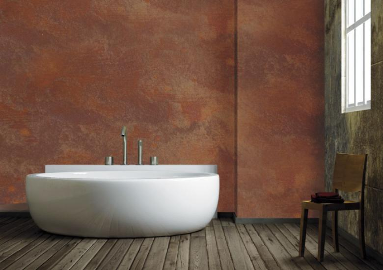 Rust effect in bathroom