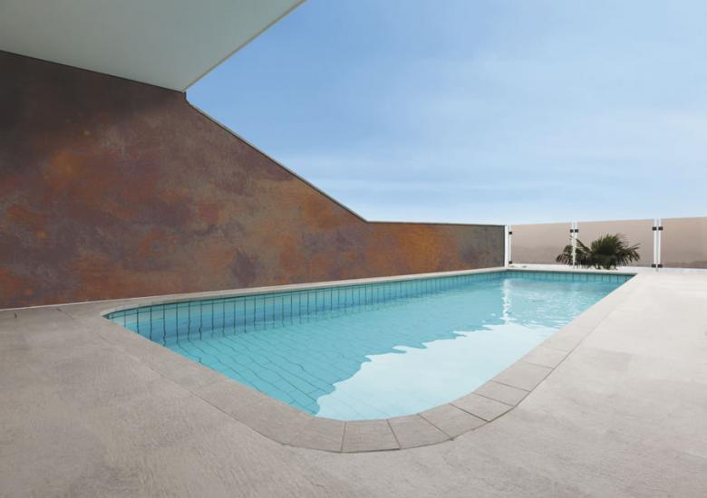 Rust corten metal at swimming pool