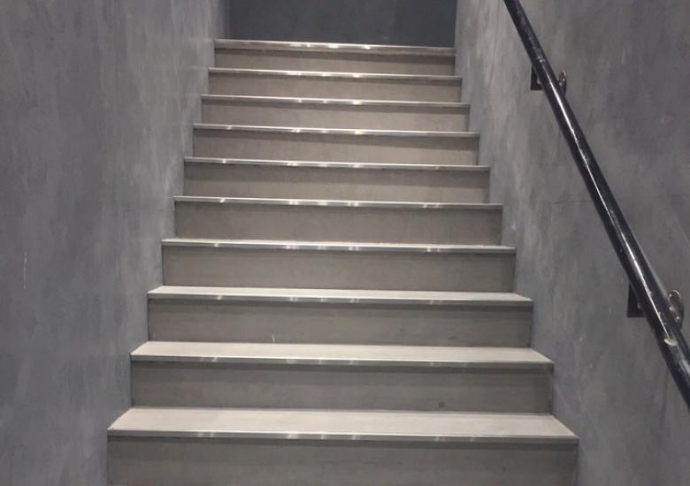 polished concrete staircase