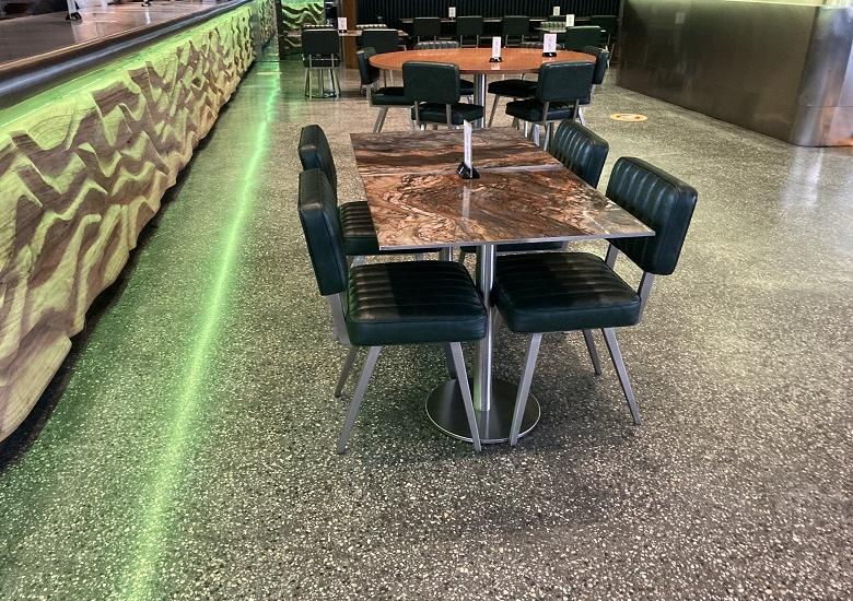 terrazzo and tables at nusret