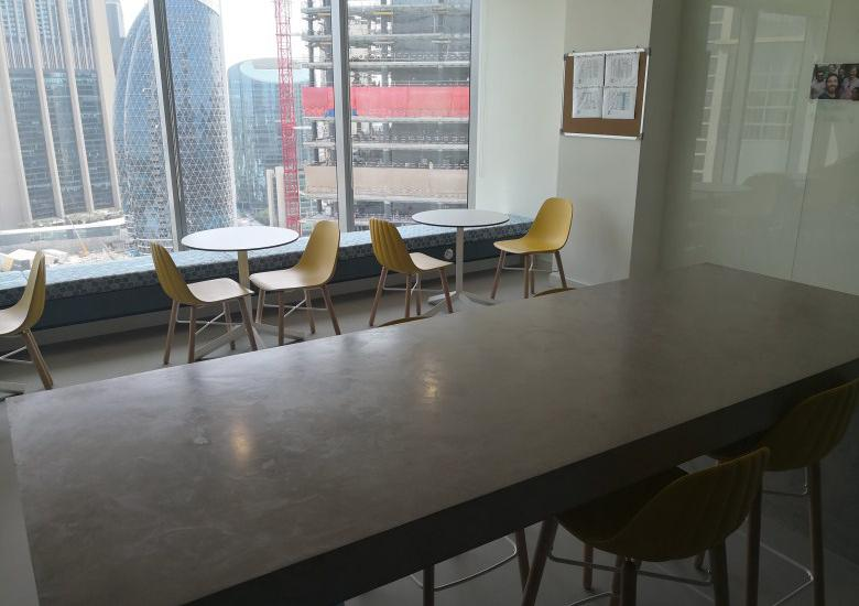 Polished concrete pantry table