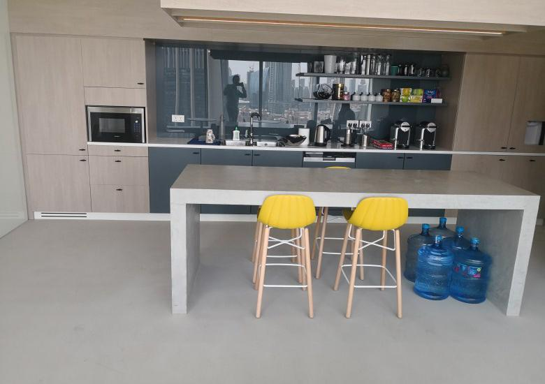 Polished concrete at private office pantry
